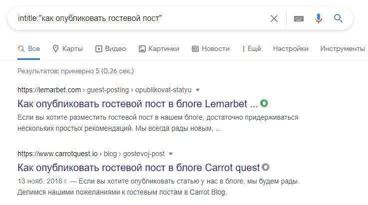 """Пример запроса: intitle: """"как опубликовать гостевой пост"""""""